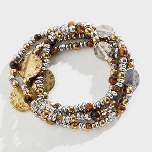 J. Jill Tiger's-Eye Beaded Necklace/Wrap Bracelet